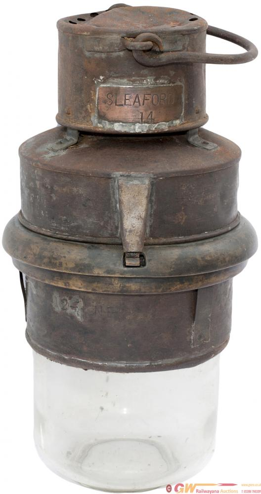 LNER Carriage Pot Lamp Stamped LNE-C 124, Copper
