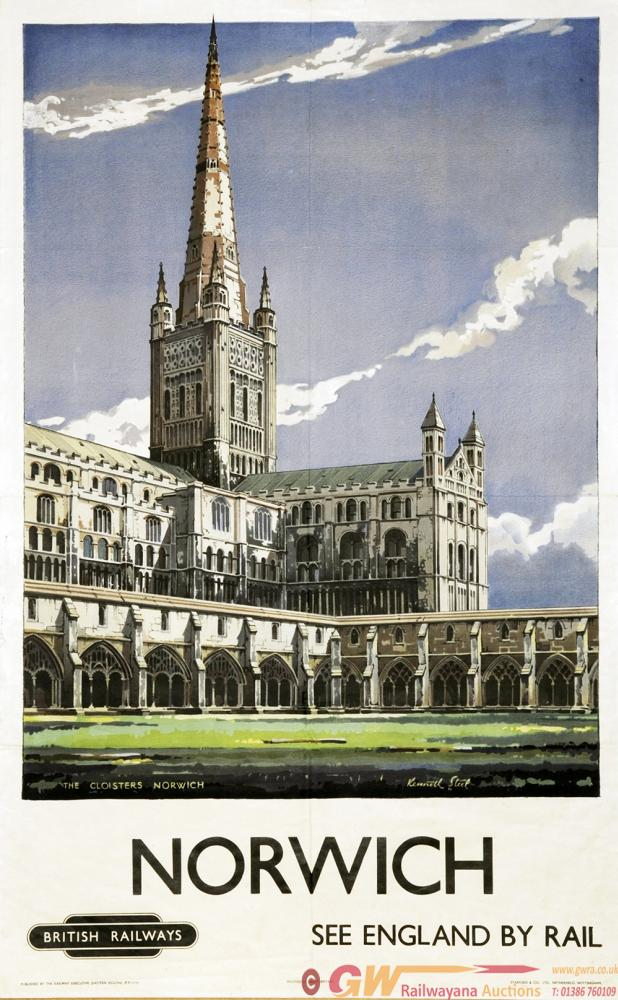 Poster British Railways 'Norwich - The Cloisters -