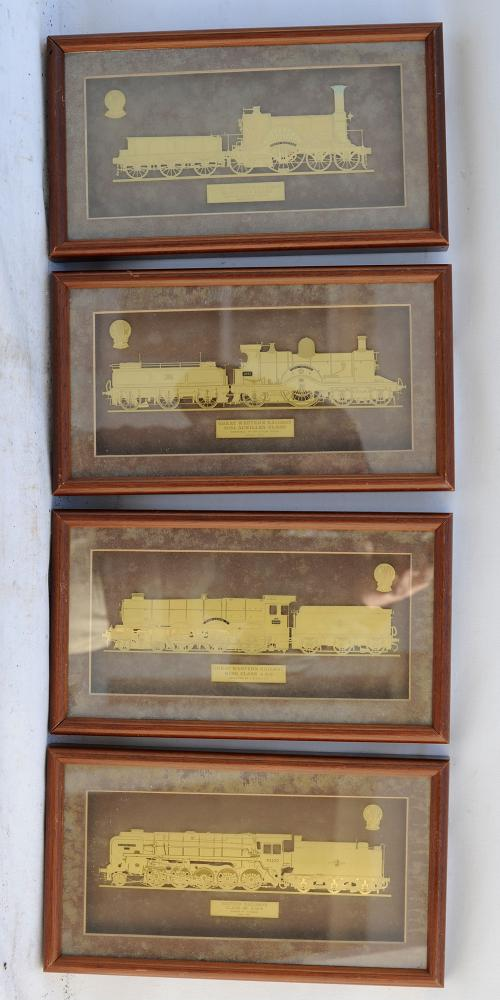 A Set Of 4 GWR Brass Locos Etched Within A Frame