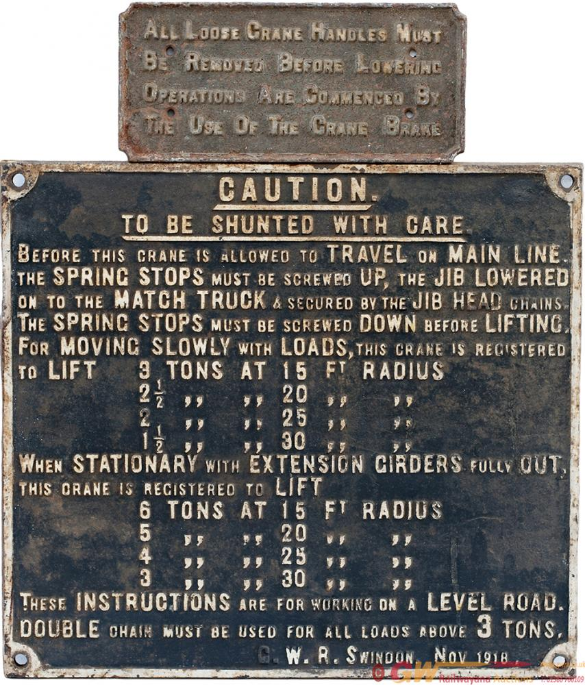 GWR Cast Iron Crane Notice Re BEFORE THIS CRANE IS