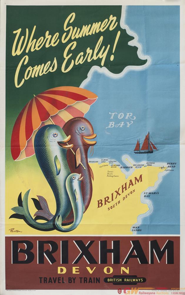 Poster BR(W) BRIXHAM DEVON WHERE SUMMER COMES