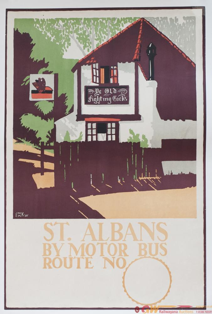 Poster London General Omnibus ST ALBANS BY MOTOR