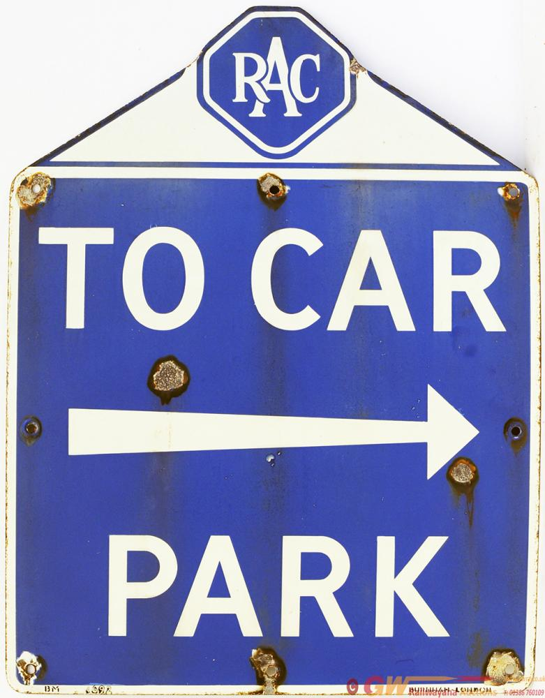 RAC Enamel Sign TO CAR PARK With Right Facing