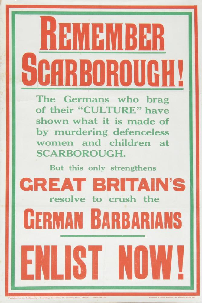 Wartime Poster, 'Remember Scarborough - Enlist