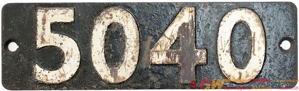 Smokebox Numberplate 5040 Ex Stokesay Castle. See