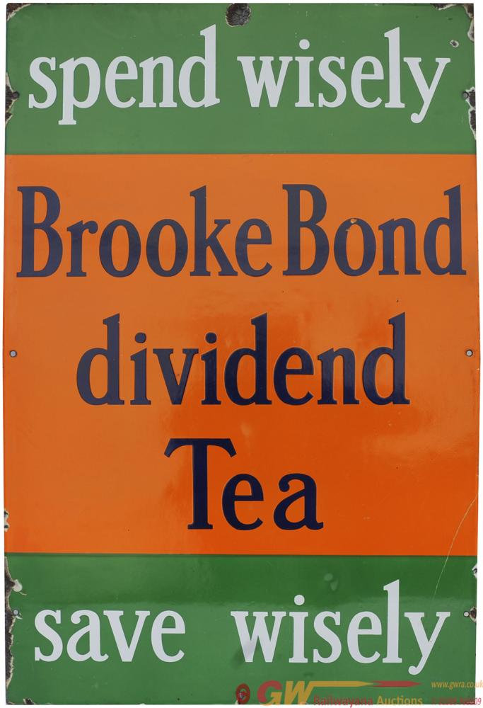 Advertising Enamel Sign SPEND WISELY BROOKE BOND