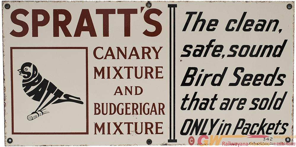 Advertising Enamel Sign SPRATT'S CANARY MIXTURE