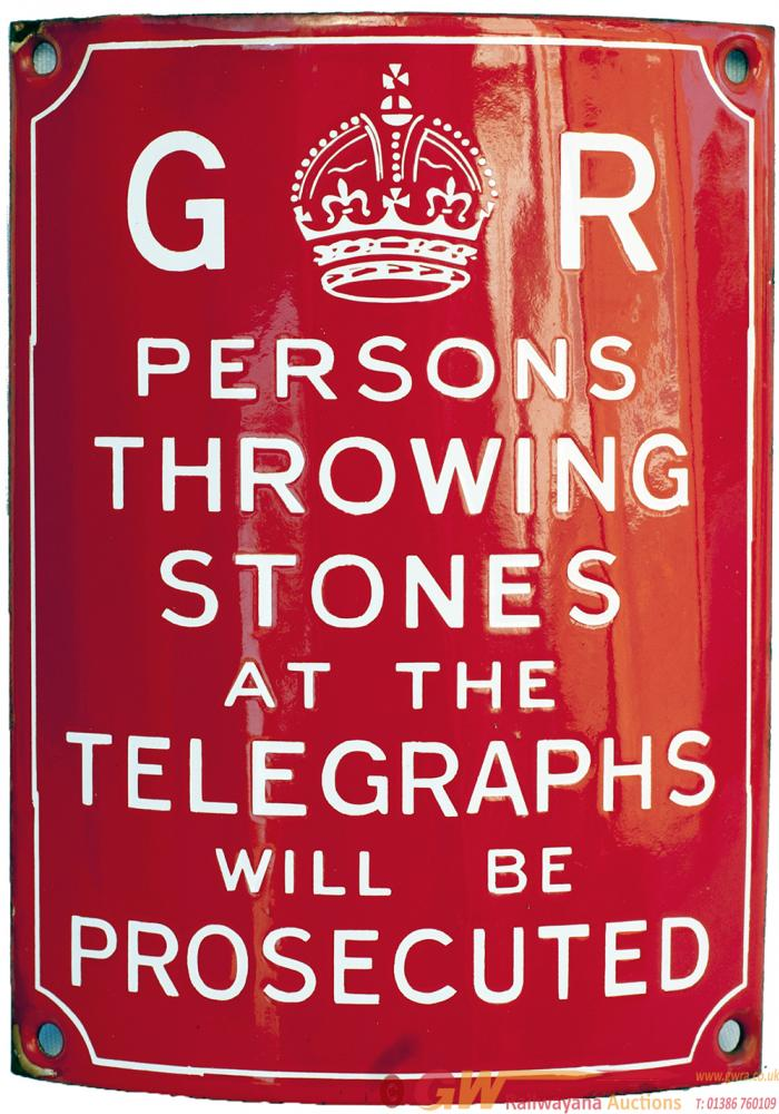 Enamel Telegraph Pole Sign GR PERSONS THROWING
