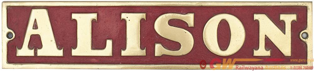 Nameplate ALISON Ex 0-4-0 ST Built By Avonside