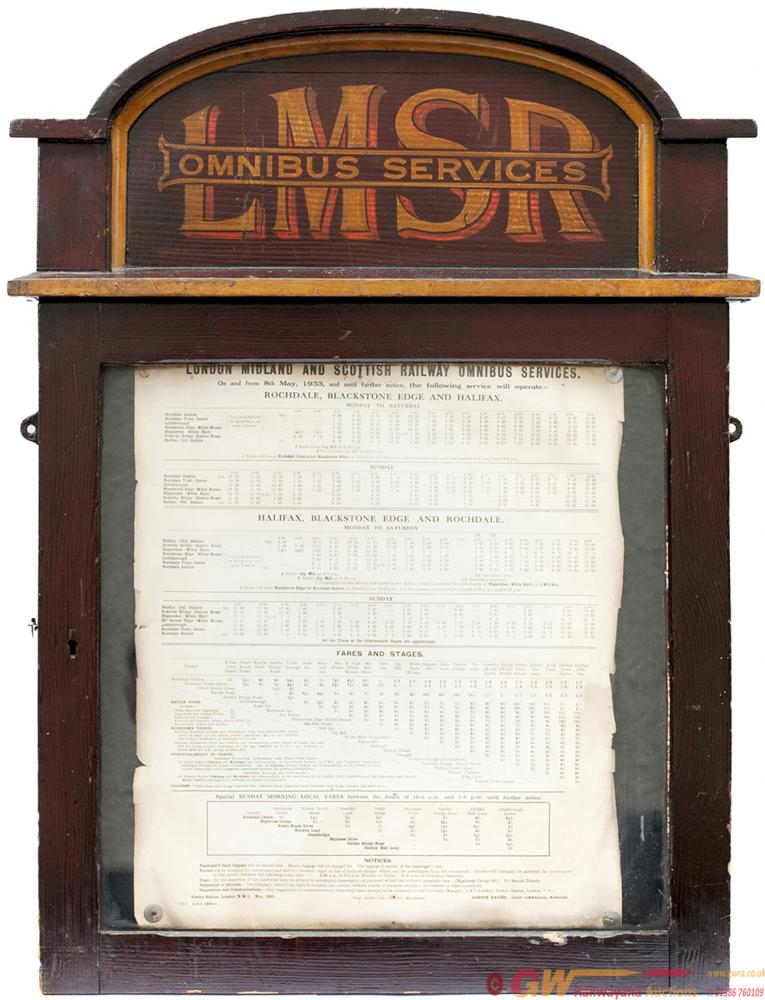 LMSR Omnibus Services Wooden Glazed Timetable