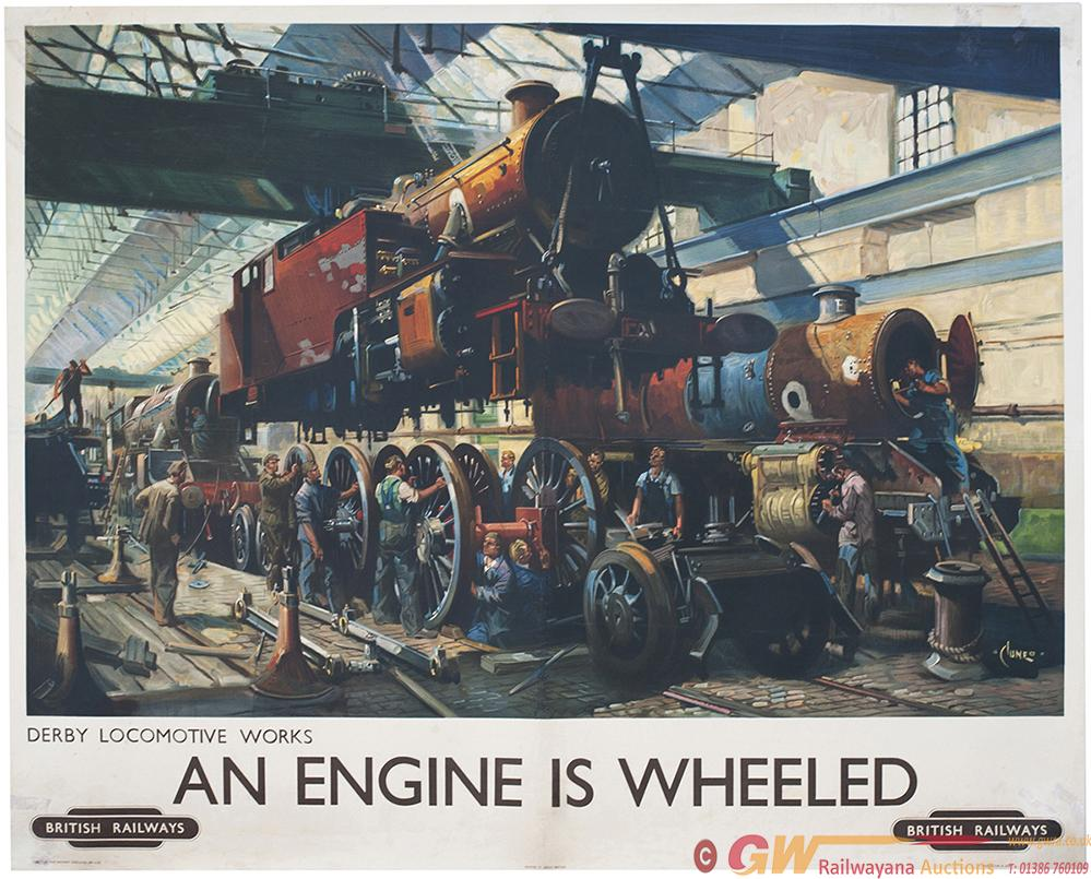 Poster BR AN ENGINE IS WHEELED DERBY LOCOMOTIVE