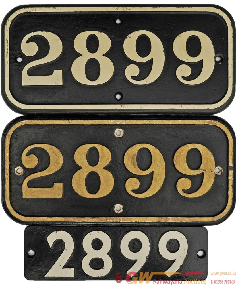 GWR Cast Iron Cabside Numberplate 2899 A Pair