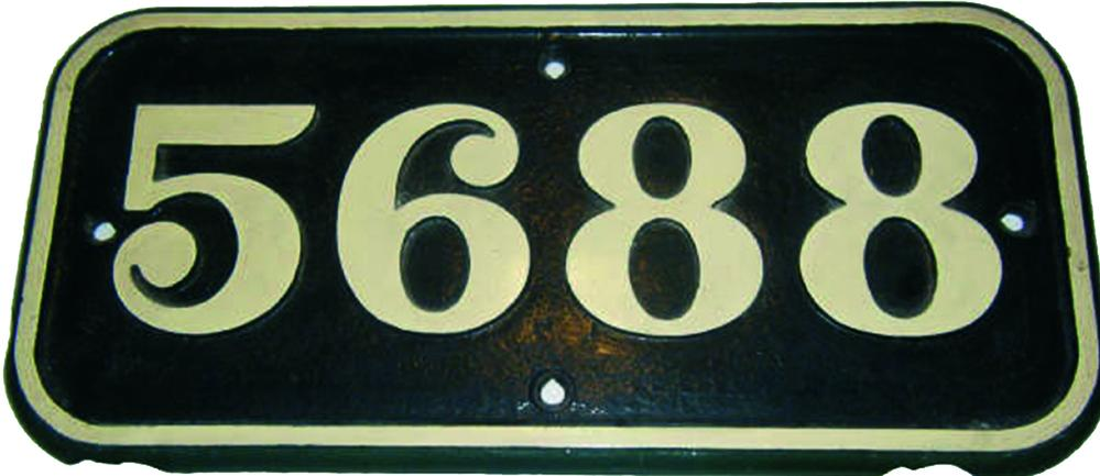 GWR C/I Cabside Numberplate 5688 Ex GWR 0-6-2t