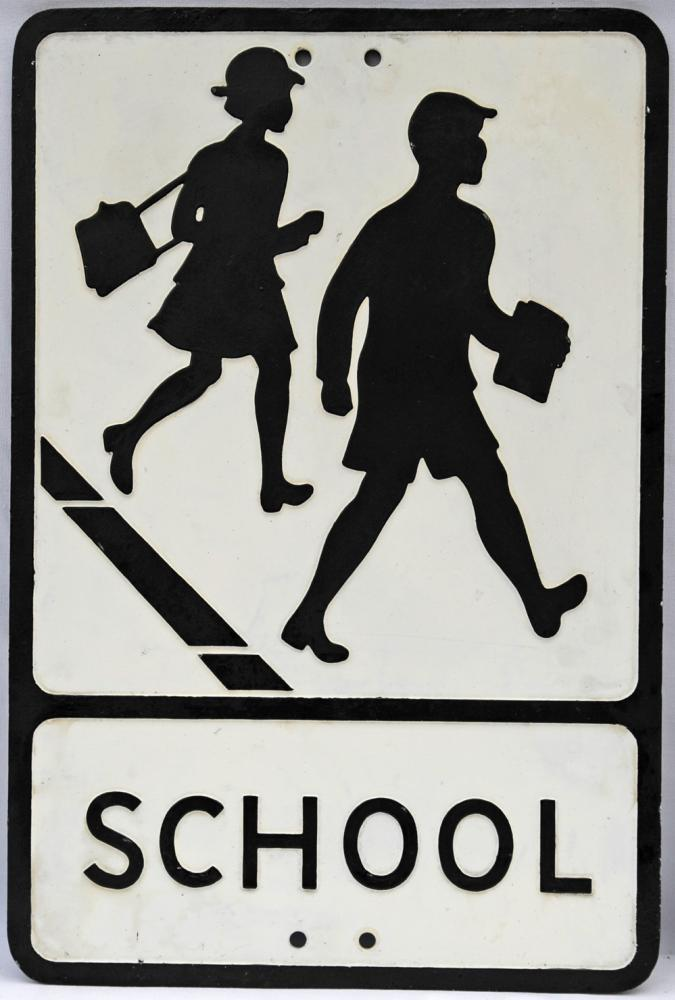 Pressed Alloy Road Sign 'School', Depicting The