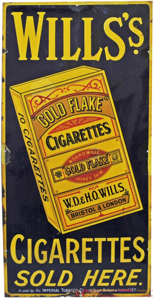 Enamel Advertising Sign 'Wills's Gold Flake