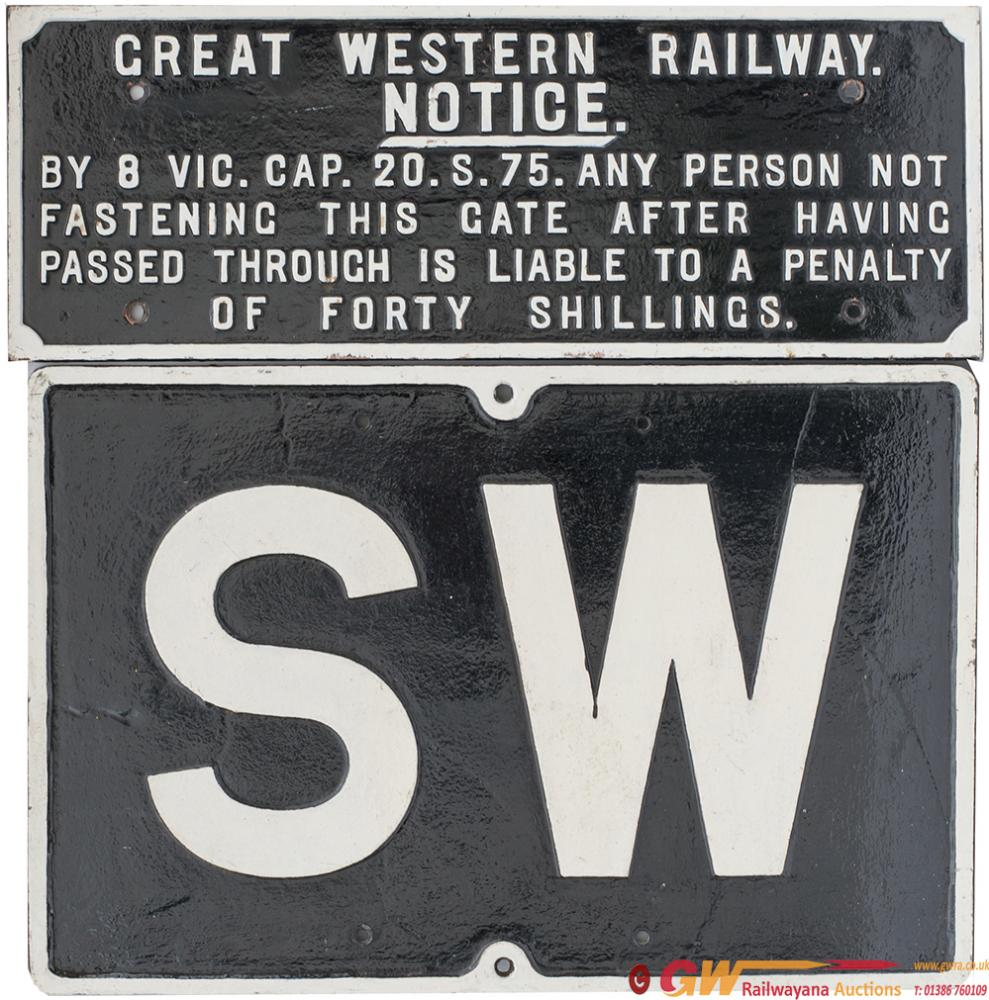 GWR Cast Iron Signs x2 Consisting Of A Great