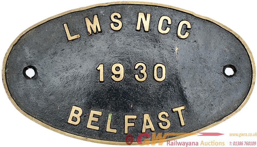Worksplate LMS NCC 1930 BELFAST. LMS Pattern Oval