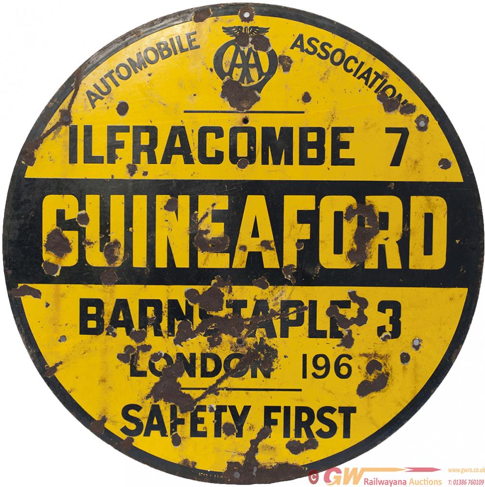 AA Motoring Enamel Road Sign GUINEAFORD ILFRACOMBE