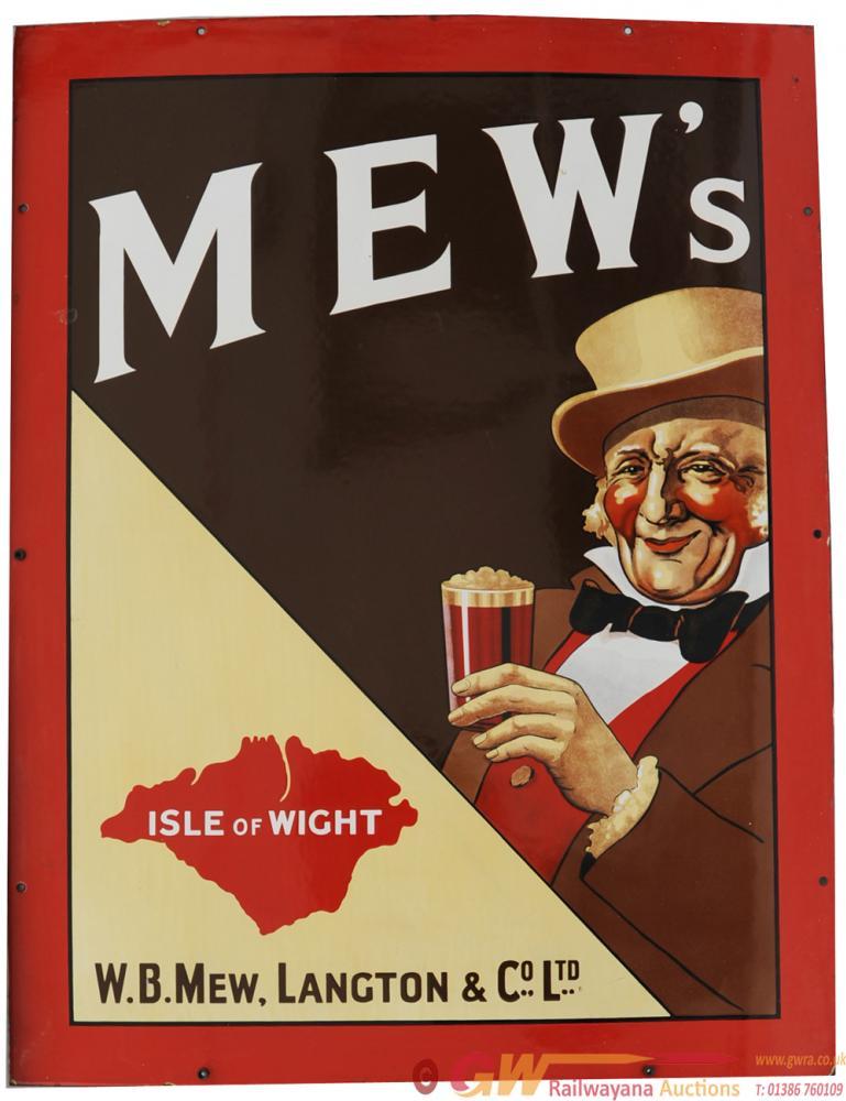 Advertising Enamel Sign 'Mew's - Isle Of Wight -