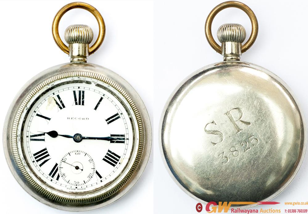SR Nickel Cased Guards Pocket Watch By Record,