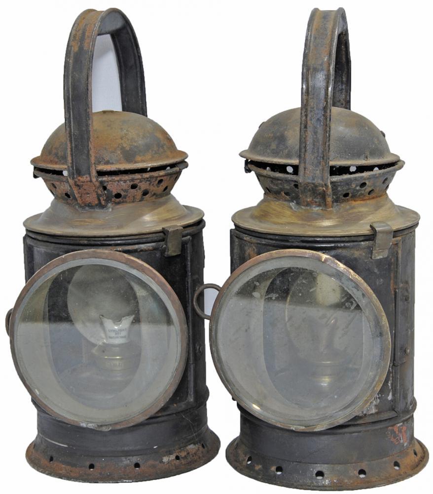 GWR Brass Collar Handlamps, A Pair, One Being A