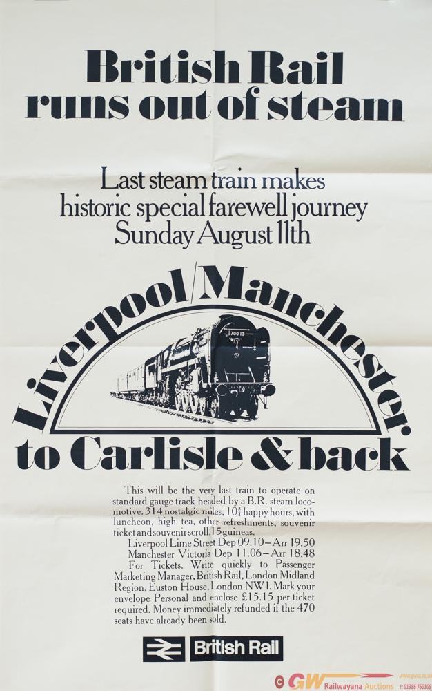 Poster BR BRITISH RAIL RUNS OUT OF STEAM. Image Of