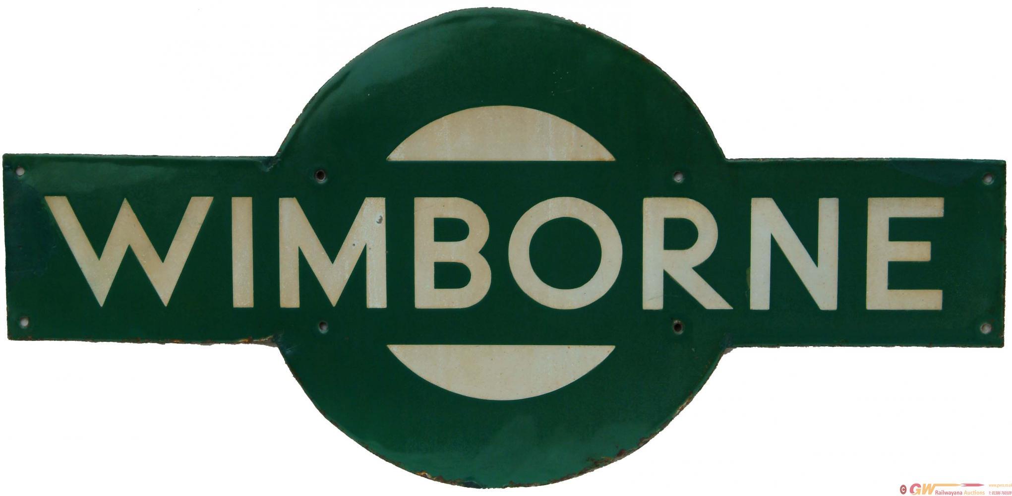 Southern Railway Enamel Target WIMBORNE. Ex LSWR