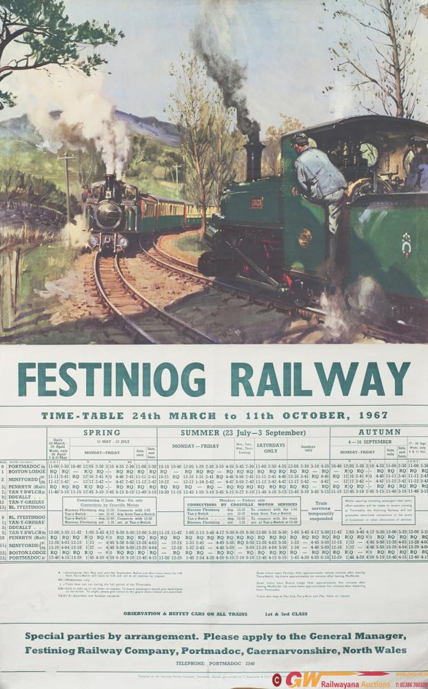 Poster FESTINIOG RAILWAY By Cuneo With Timetable