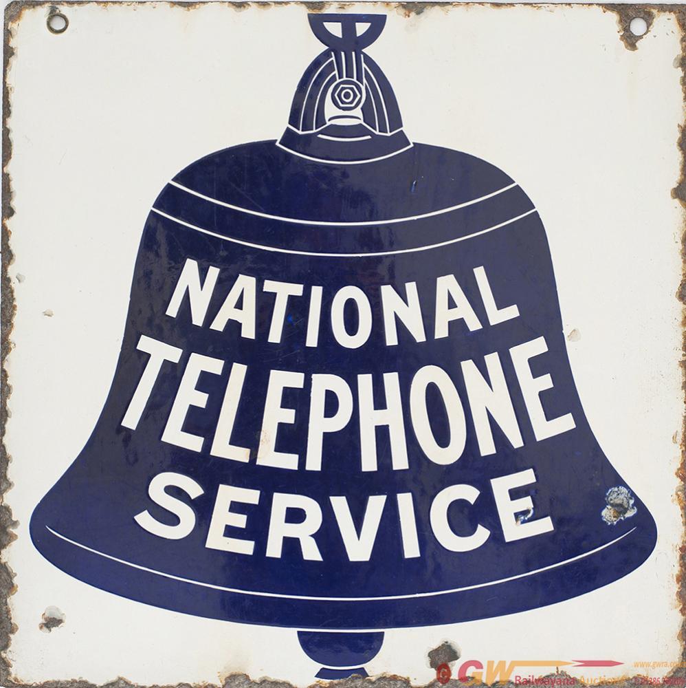 Enamel Sign NATIONAL TELEPHONE SERVICE, Double