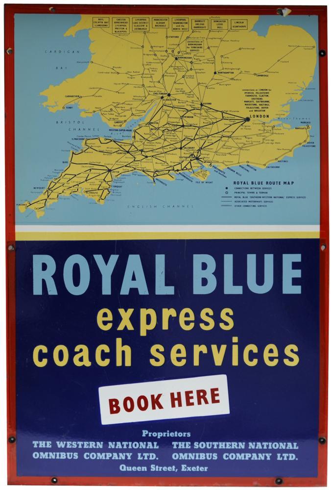 Enamel Advertising Sign Royal Blue Express Coach