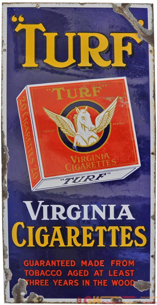 Adverting Enamel Sign TURF VIRGINIA CIGARETTES