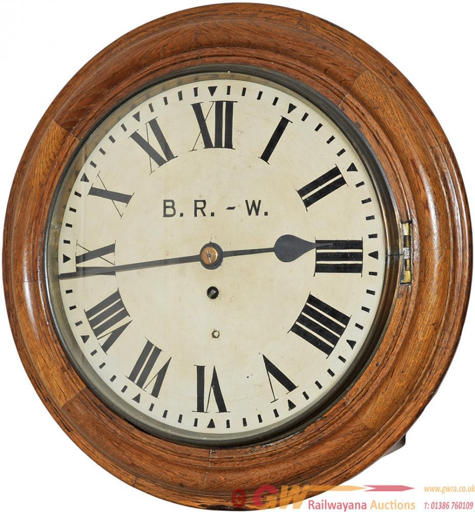 Cambrian Railway  12 Oak Cased Fusee Dial Clock.