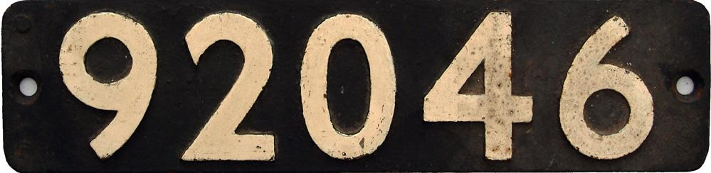 Smokebox Numberplate 92046. Ex Riddles 9f 2-10-0