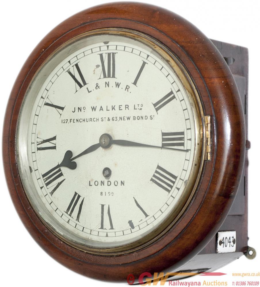 LNWR 8in Mahogany Cased Fusee Railway Clock. The