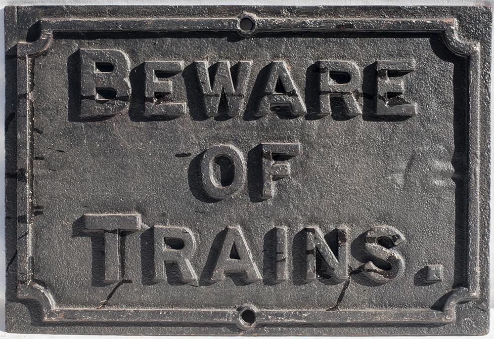 Midland Railway Cast Iron BEWARE OF TRAINS Notice.