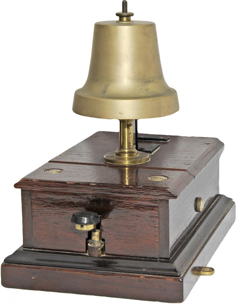 GWR Mahogany Cased Block Bell With Front Tapper. A