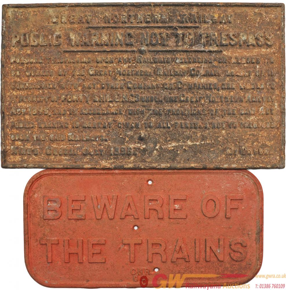 GNR Cast Iron Signs, A Pair Comprising: Beware Of