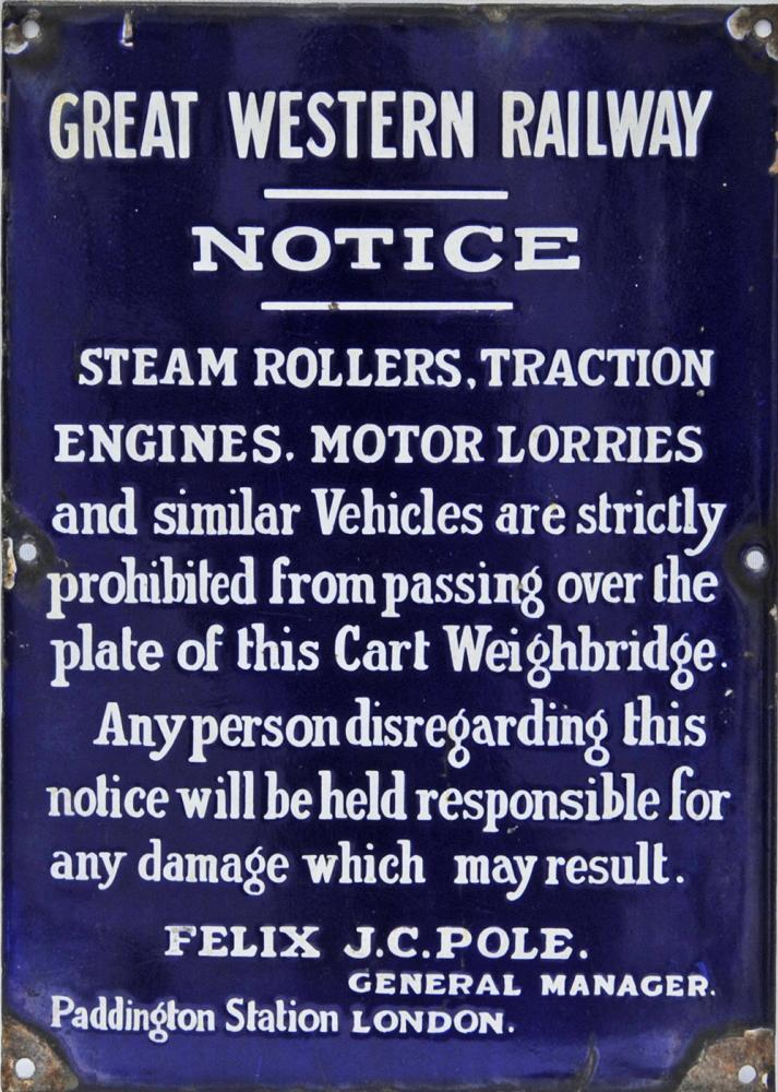 GWR Enamel Notice Regarding Steam Rollers,