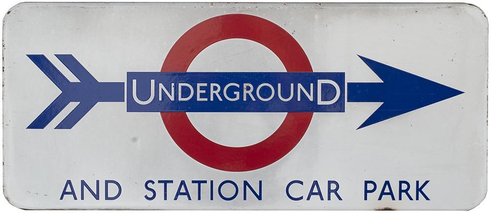 London Underground FF Enamel Sign UNDERGROUND AND