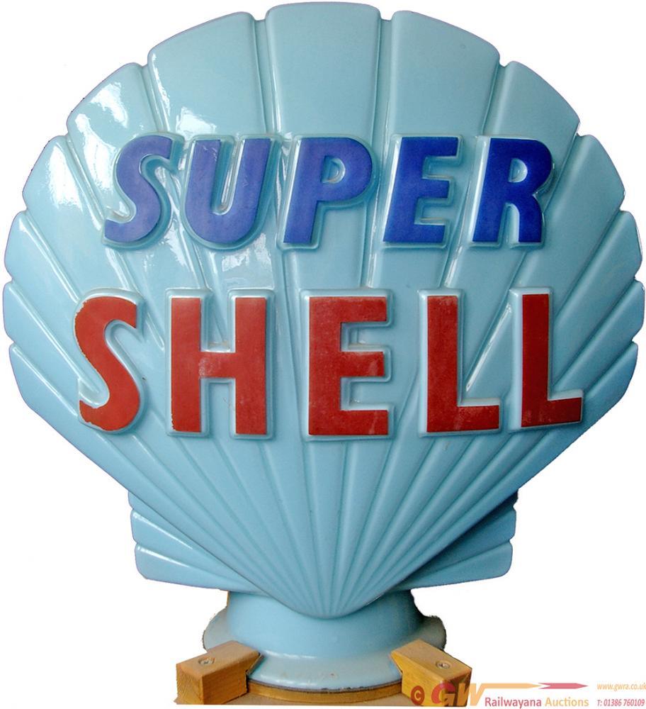 Petrol Pump Globe SUPER SHELL. Light Blue