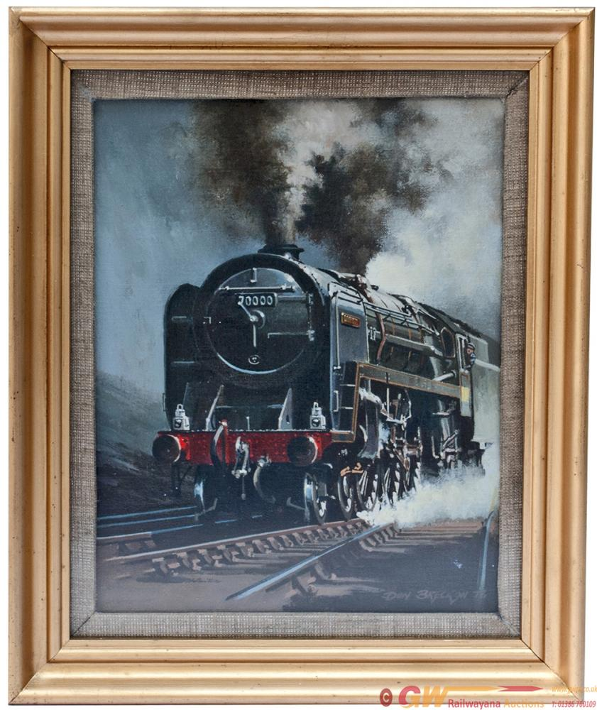 Original Oil Painting On Canvas Of BR 4-6-2 70000