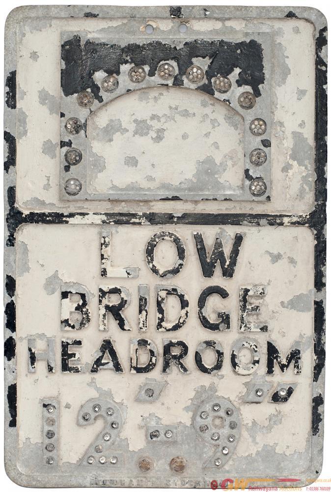 Cast Aluminium Road Sign LOW BRIDGE HEADROOM 12'9'