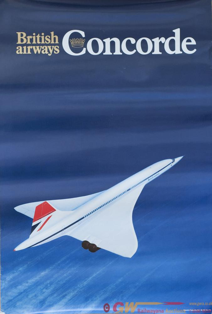 Poster BRITISH AIRWAYS CONCORDE. Double Crown 20in