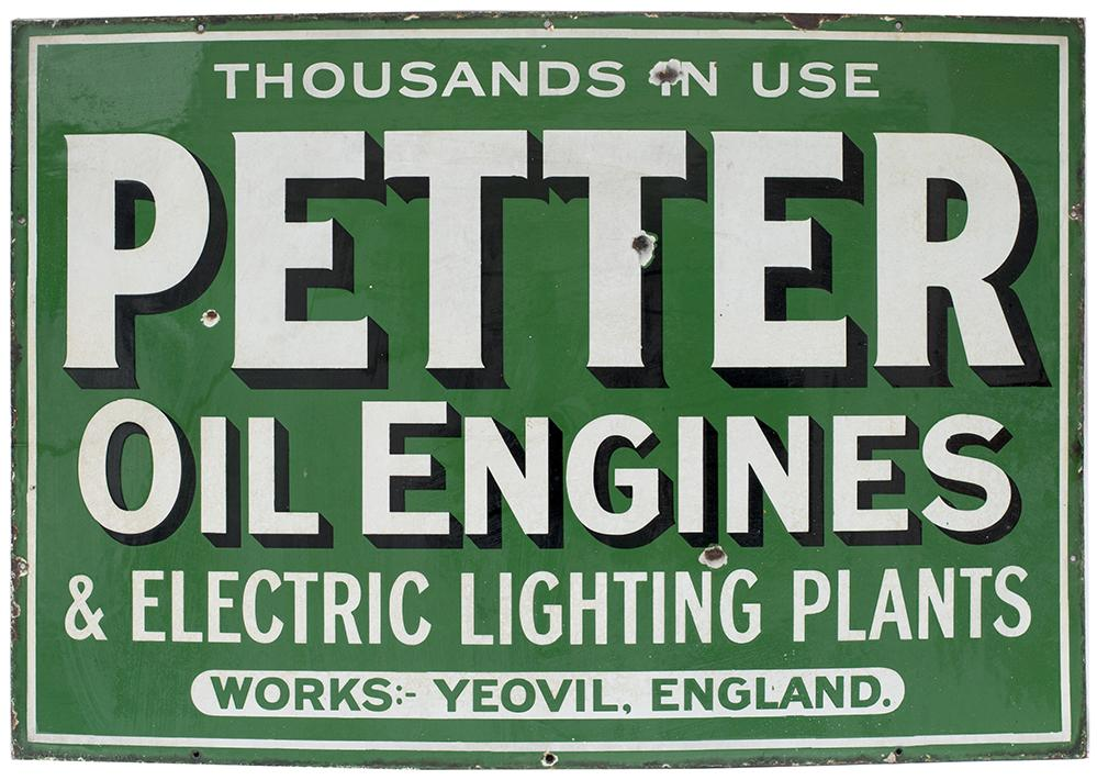 Advertising Enamel Sign PETTER OIL ENGINES &