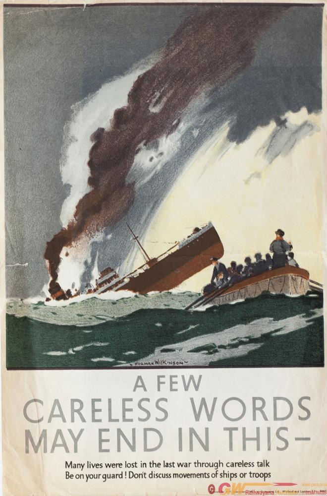 Poster ww2 A FEW CARELESS WORDS MAY END IN THIS By