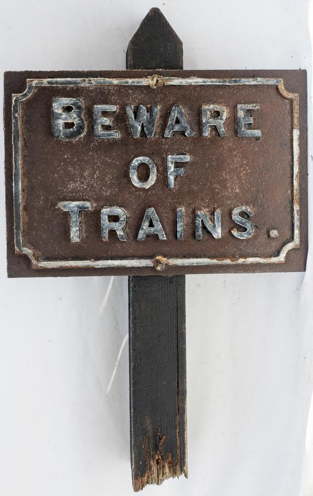Midland Railway Cast Iron Sign. BEWARE OF TRAINS