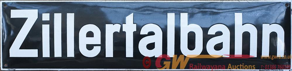 Enamel Carriage Board ZILLERTALBAHN Ex 4 Wheeled