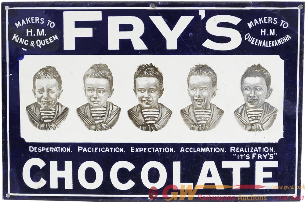 Advertising Enamel Sign 'Fry's Five Boys', 18 X