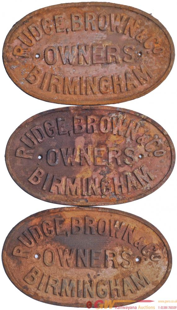 Wagon Plates, Qty 3 The Same 'Rudge Brown & Co