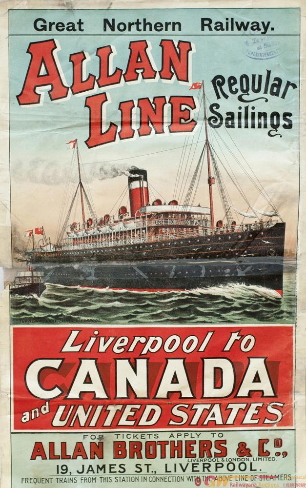 Poster GREAT NORTHERN RAILWAY ALLAN LINE REGULAR